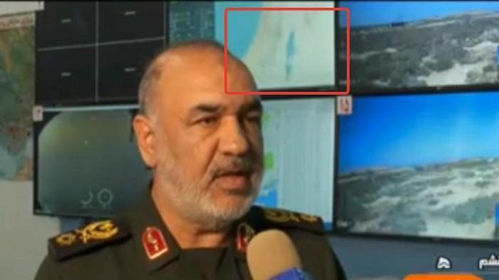 """איראן ממשיכה להתפאר במל""""טים תוקפים עם תקש""""ל (שימו לב למפת ישראל ברקע)"""