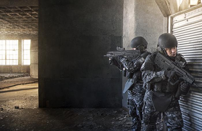 Tavor X-95 rifles in use by the Uruguayan National Republican Guard