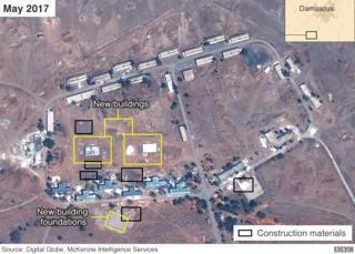 """BBC: """"צילומי לוויין מראים: האיראנים מקימים מחנה צבאי 14 ק""""מ דרומית לדמשק"""""""